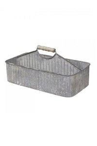 Zinc Utility Caddy with Wooden Handle