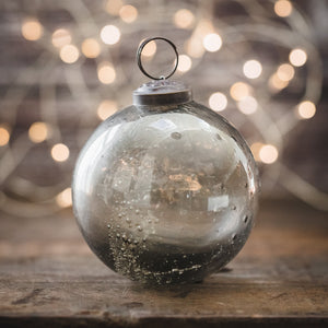 Pebbled Glass Bauble Ornament - Smoke
