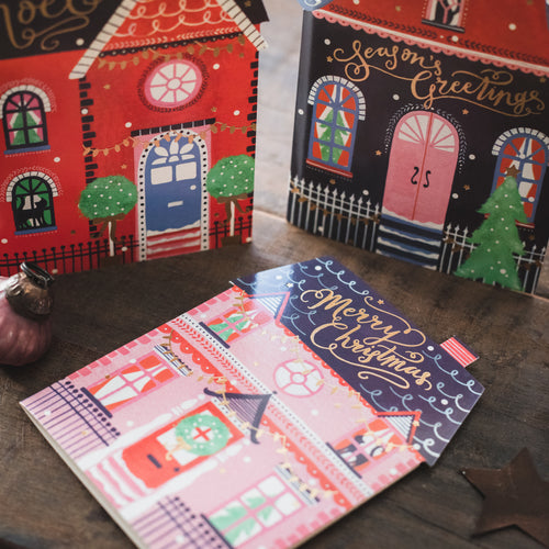 CHRISTMAS CARD HOUSE TRIO BOX OF 12