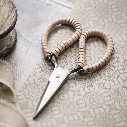 Blush leather handle scissors