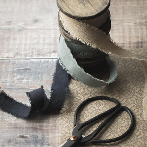 Linen Ribbon on Spool - Charcoal