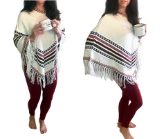 Alpaca Sleeveless Pull Over Poncho Sweater