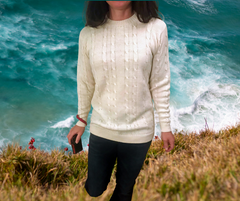 Alpaca Crew Neck Cable Knit Sweater