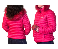 Bright Pink And Warm Puffy Down Jacket with Fur Hood