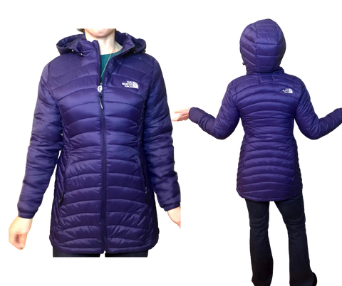 Long Puffy Jacket with Hood and Zip Pockets Women's