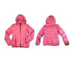 Short Mid Weight Puffy Jacket with Hood and Zip Pockets Women's