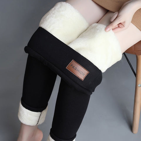 Women Leggings Black Warm Pants Winter Skinny Thick Velvet Wool Fleece Girls Leggings Women Trousers High Waist Track Pants