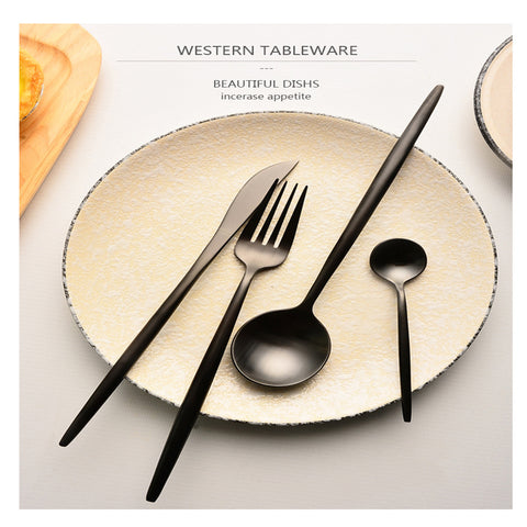 Image of Matte Black Cutlery Set