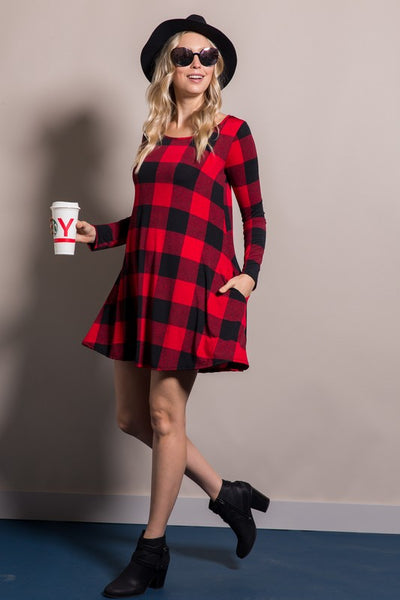Buffalo Plaid Swing Dress