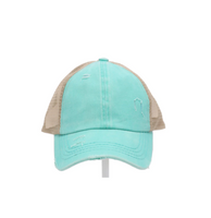 Washed Denim Criss Cross High Pony CC Ball Cap