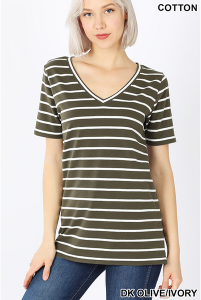 Olive and Ivory Striped Cotton V-Neck Tee