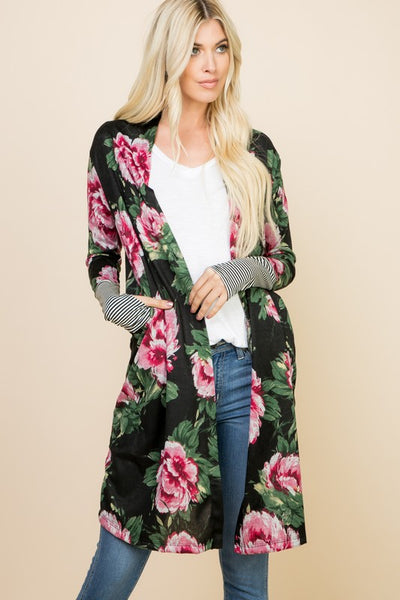 Floral Cardigan with Striped Thumb Hole Cuff Detail