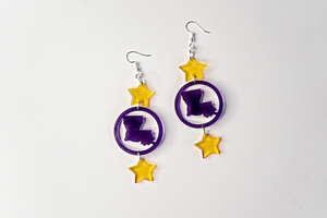 Geaux Louisiana Earrings - Purple & Gold