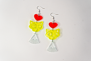 Neon Kitty Love Dangle Earrings - Acrylic