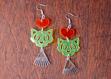 Load image into Gallery viewer, Neon Kitty Love Dangle Earrings - Acrylic