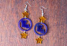 Load image into Gallery viewer, Geaux Louisiana Earrings - Purple & Gold