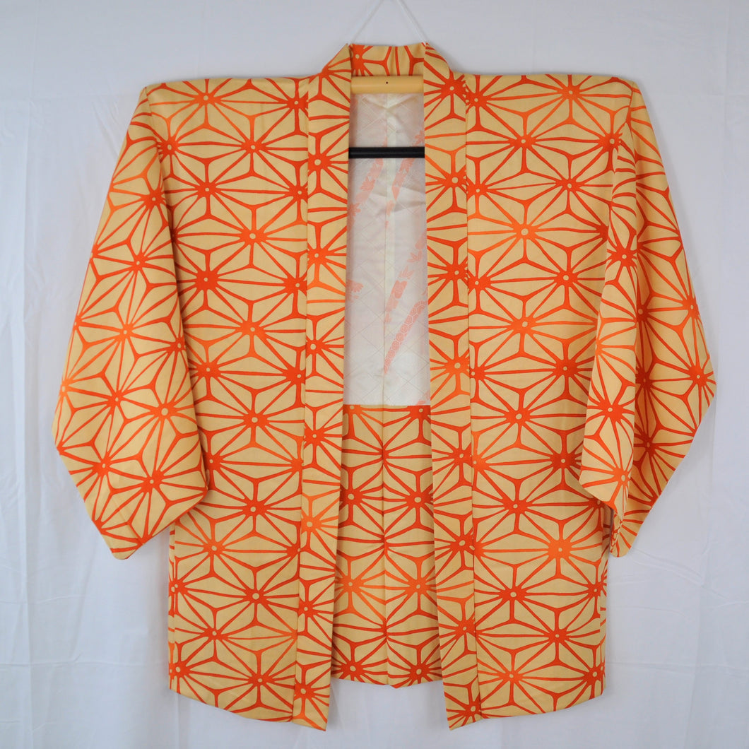 Vintage Japansk Haori med Traditionelt Print i Orange