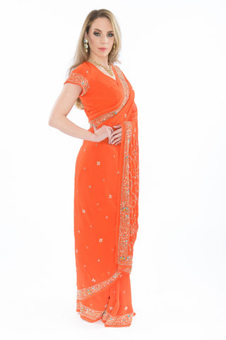 Orange Saree Sari Draping Service