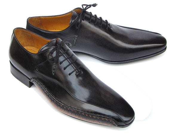 Paul Parkman Men's Black Leather Oxfords Shoes - Side Handsewn Leather Upper and Leather Sole (Id#018)