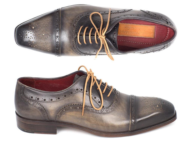 Paul Parkman Men's Captoe Oxfords Gray Shoes (ID#024-GRAY)