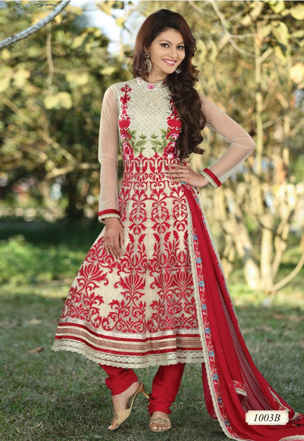 Cream Net and Faux Georgette Anarkali Churidar Kameez (D. No. 1003-B)