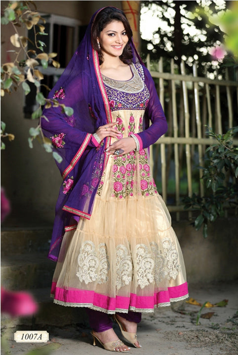 Brilliant Beige and Deep Purple Anarkali Churidar Kameez (D. No. 1007-A)