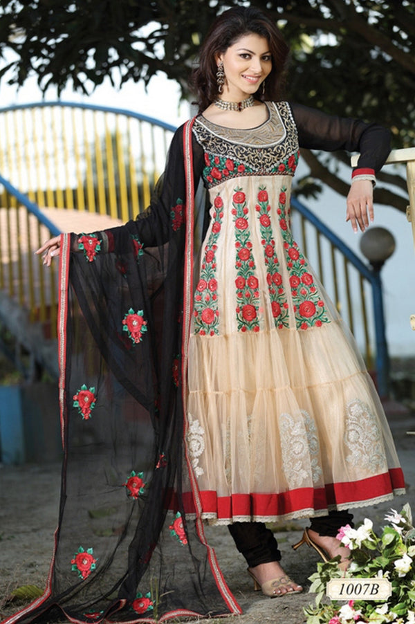 Brown and Black Majesty Beige Anarkali Salwar Kameez (D. No. 1007-B)