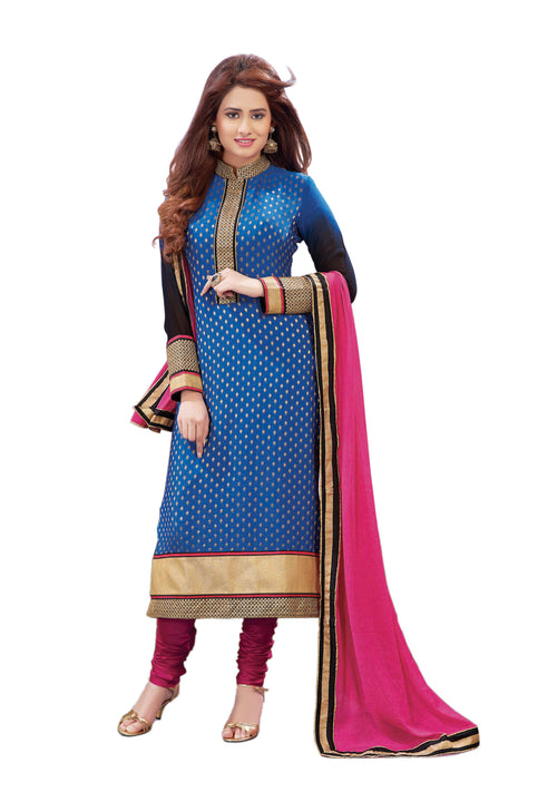 Charming Blue and Pink Kurti Churidar