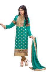 Stunning Teal and Gold Kurti Churidar