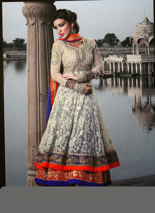 Gorgeous Beige and Orange Long Anrakali  (D. No. 101)