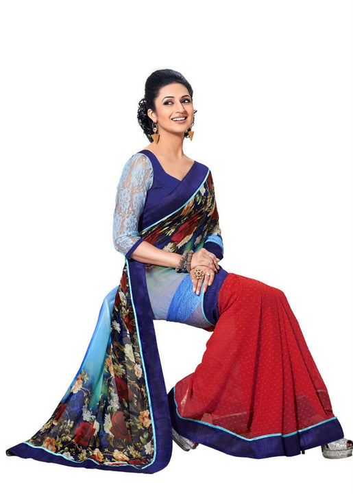 Gorgeous Designer Floral Print Blue and Red Chiffon Saree D-101