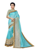blue and Gold border Banarasi Kora Silk Saree