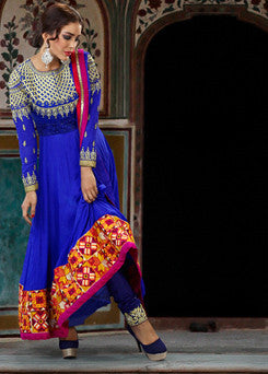 Elegant Long Blue Ready-made Anarkali