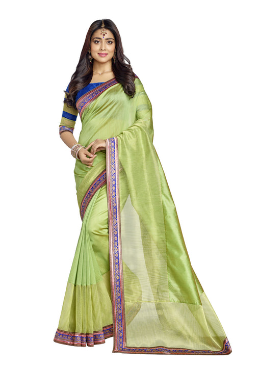 Lovely Green and Organza net silk saree