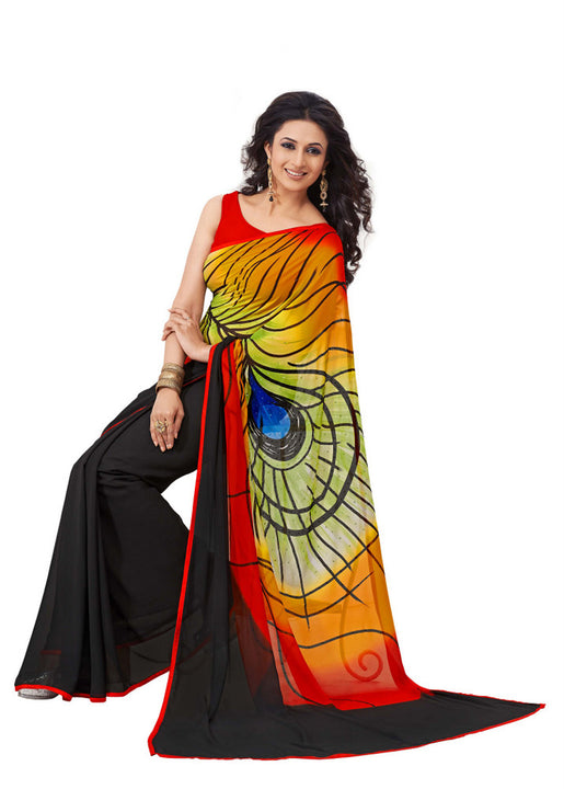 Gorgeous Graphic Printed Peacock Feather Design Saree D-106