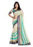 Beige and Blue Banarasi Kora Silk Saree