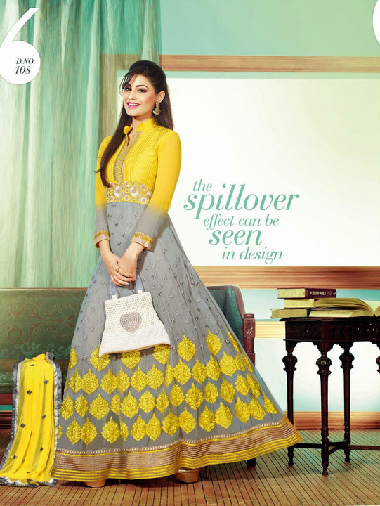Gorgeous Yellow and Gray Long Anarkali (D. No. 108)