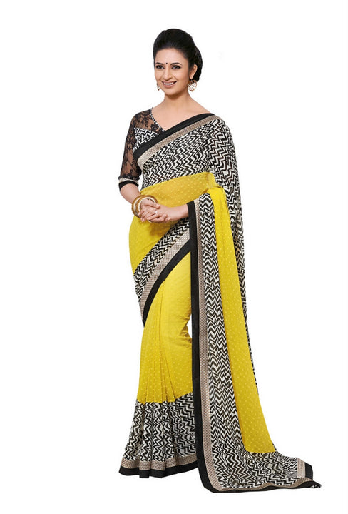 Beautiful Black and Yellow  Print Bordered Exclusive Chiffon Saree D-109