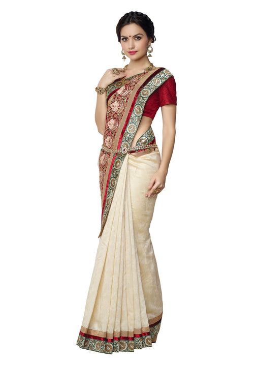 Beautiful Cream and Red  Pallu  - Banarasi Kora Silk Saree