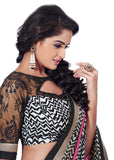 Vibrant Black and Hot Pink Print Bordered Exclusive Chiffon Saree D-110