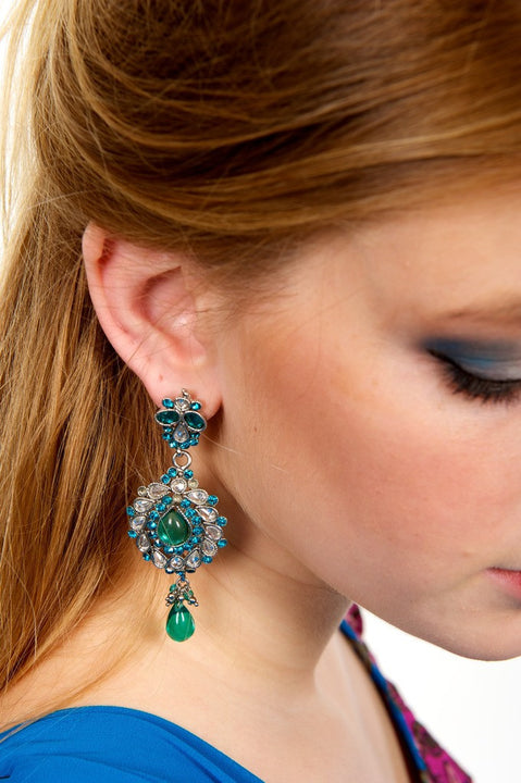 Blue Jumkha Earrings