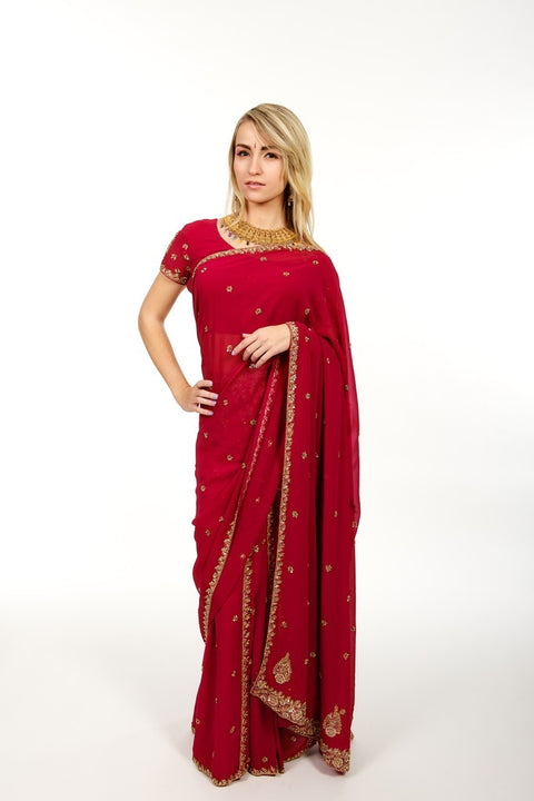 Evening Beauty Pink Readymade Sari