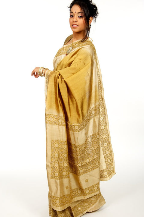 Gold Kantha-work Silk Sari