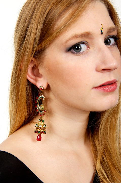 Red and Green Jumkha Earrings