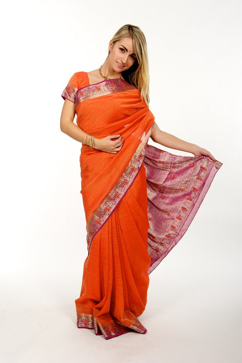Orange and Pink Luxe Sari
