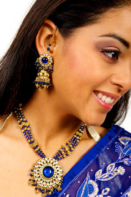 Dazzling Blue and Gold Necklace and Earrings Set