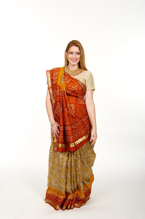 Dreamy Orange & Gold Silk Bandhani Sari