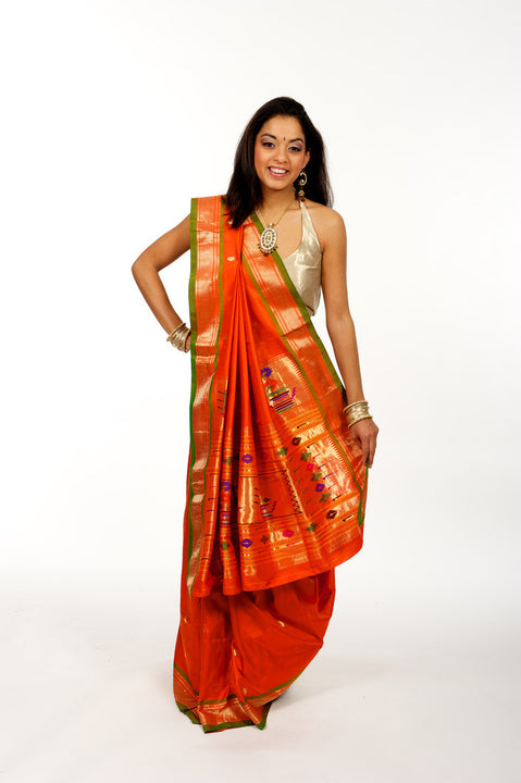 Red Hot Pure Banarasi Silk Sari