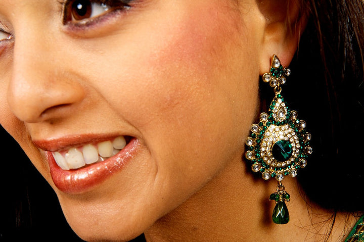 Green Jumkha Earrrings