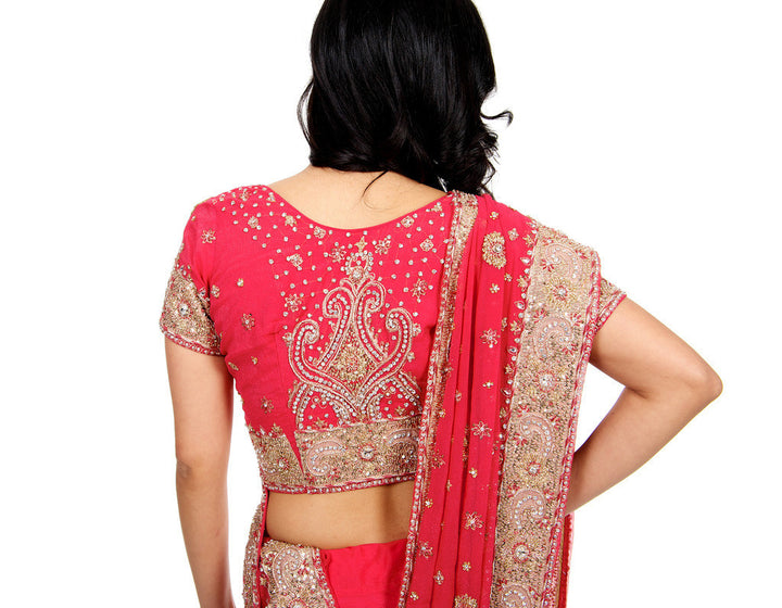 Lavish Pink and Gold Embroidered Sari